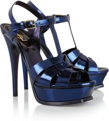 Saint Laurent Tribute Mirrored Leather Sandals - Lyst
