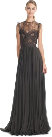 Elie Saab Charcoal Lace and Grosgrain Long Dress - Lyst