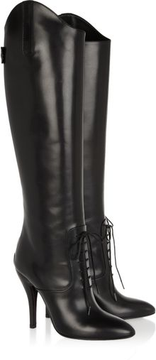 Gucci Leather Knee Boots - Lyst