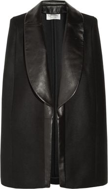 Saint Laurent Leathertrimmed Wool and Cashmereblend Cape - Lyst
