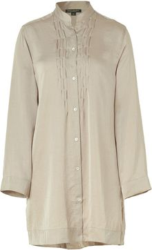 Donna Karan Intimates Taupe Laundered Satin Sleepshirt - Lyst
