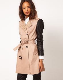 ASOS Collection Asos Studded Collar Mac with Pu Sleeves - Lyst