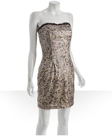 Hoaglund New York Toast Brushstroke Printed Sequin Strapless Dress - Lyst