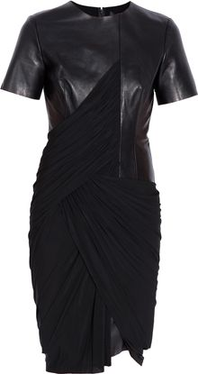 Alexander Wang Leather Drape Dress - Lyst