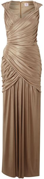 Anoushka G Metallic Rouched Wrap Dress - Lyst