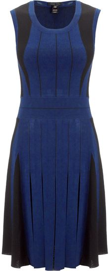 Ohne Titel Blue Stripe Knit Pleat Dress - Lyst