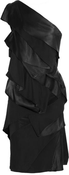 Donna Karan New York Paneled Stretchsatin Dress - Lyst