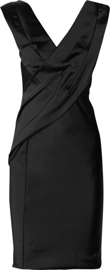 Donna Karan New York Wrapeffect Stretchsatin Dress - Lyst