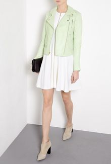 Theory Green Elenian Textured Leather Biker Jacket - Lyst