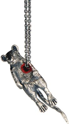 Momocreatura Hole in The Heart Mouse Pendant Silver - Lyst
