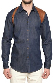 Alexander McQueen Cotton Denim Leather Harness Shirt - Lyst