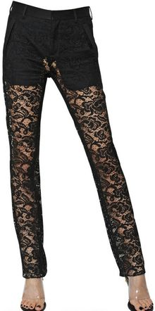 Givenchy Cotton Viscose Dentelle Lace Trousers - Lyst