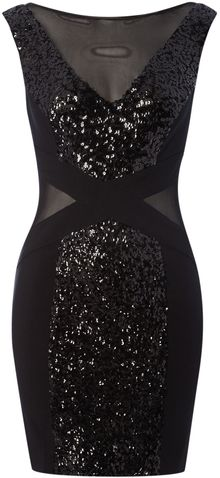 Madam Rage Sequin Cross Detail Dress - Lyst
