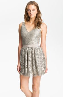 Robert Rodriguez Tiered Metallic Lace Minidress - Lyst