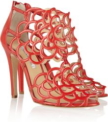 Oscar de la Renta Cutout Leather Sandals - Lyst