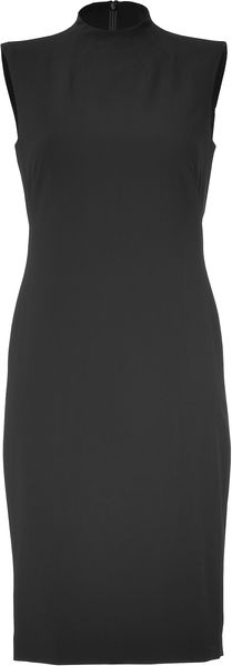 Ralph Lauren Collection Black Bi Stretch Wool Roland Dress - Lyst