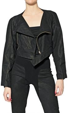 Rick Owens Cropped Smooth Leather Jacket - Lyst