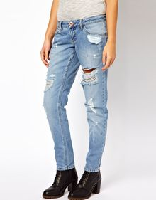 River Island Boyfriend Jean with Rips - Lyst
