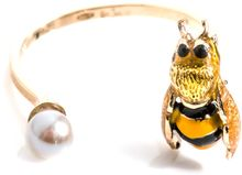 Delfina Delettrez Pearl Enamel and Goldplated Bee Ring - Lyst