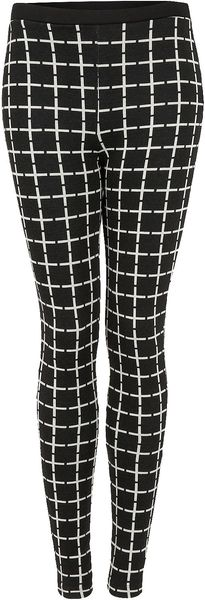 Topshop Stripe Grid Cross Treggings - Lyst