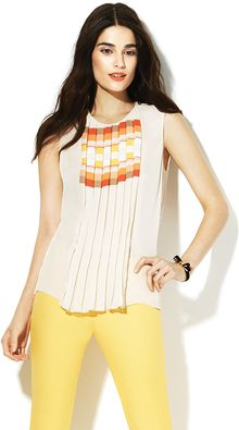 Vince Camuto Geo Stripe Pleated Blouse - Lyst