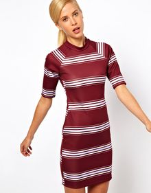 Asos Bodycon Dress in Scuba Fabric and Stripe Print - Lyst