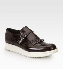 Prada Spazzolato Leather Wingtips - Lyst