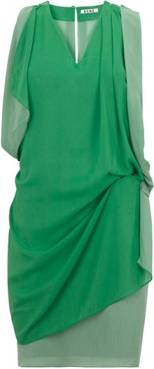 Acne Green Mallory Contrast Dress - Lyst