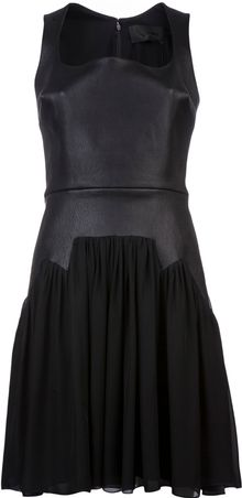 Cushnie Et Ochs Leather Georgette Dress - Lyst