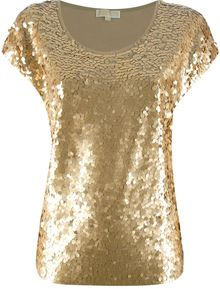 Michael by Michael Kors Sequin Embellished T-Shirt - Lyst