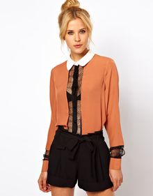 ASOS Collection Asos Blouse with Colourblock and Lace Panels - Lyst