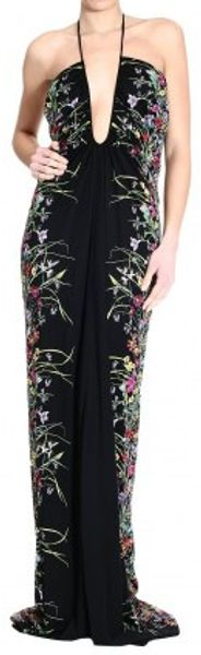 Gucci Flora Print Halter Neck Long Dress - Lyst