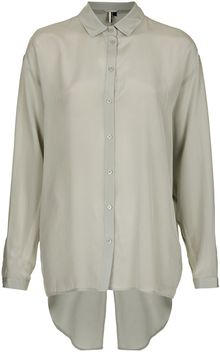 Topshop Premium Silk Slash Back Shirt - Lyst