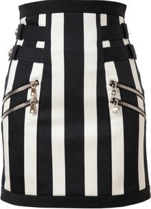Balmain Striped Denim Skirt - Lyst