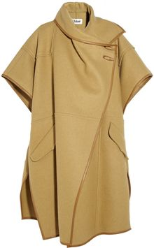 Chloé Leather Trimmed Wool Blend Cape - Lyst
