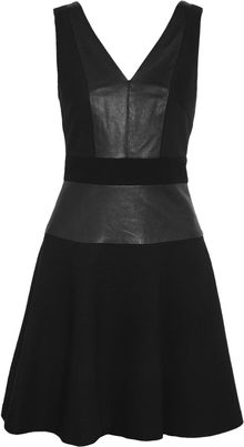 DKNY Leather and Canvas Dress - Lyst