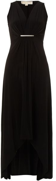 Michael by Michael Kors Sleeveless Pleated Front Maxi Dress - Lyst
