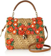 Dolce & Gabbana Miss Dolce Raffia and Leather Shoulder Bag - Lyst