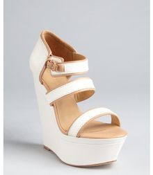 L.a.m.b. White and Bleach Snakeskin Embossed Leather Inesa Strappy Wedge Sandals - Lyst