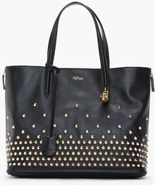 Alexander McQueen Black and Gold Studded Padlock Classic Shopper - Lyst