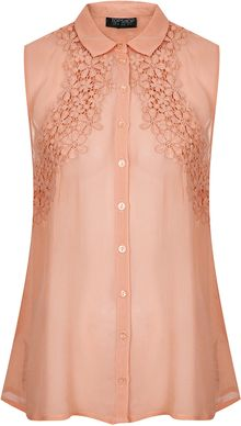Topshop Flower Crochet Detail Shirt - Lyst