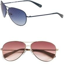 Tory Burch Logo Lens Aviator Sunglasses - Lyst