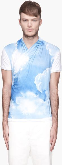 John Galliano White Cloud Print Draping Wrap Tshirt - Lyst