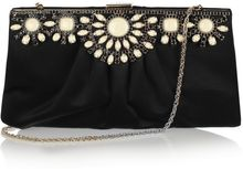 Valentino Crystalembellished Satin Clutch - Lyst