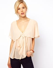 Asos Blouse with Ruffle Cape and Pussybow - Lyst