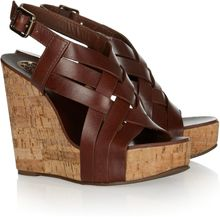 Tory Burch Ace Leather Wedge Sandals - Lyst