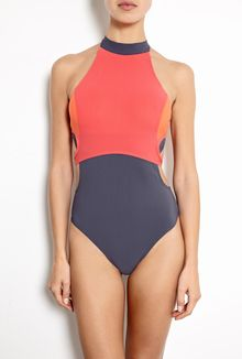 Jets Turtle Neck Contrast Panel Swimsuit - Lyst