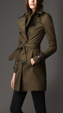 Burberry Midlength Leather Detail Gabardine Trench Coat - Lyst
