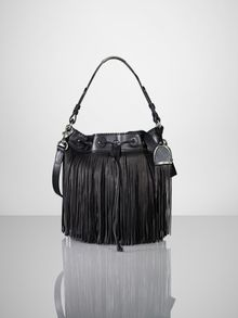Ralph Lauren Leather Fringe Bucket Bag - Lyst