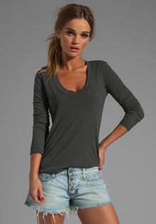 James Perse Relaxed Casual Tee in Charcoal - Lyst